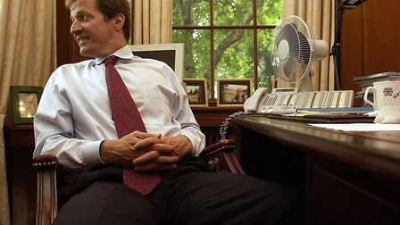 Alastair Campbell in his office in Downing Street after announcing his resignation as Director of Co