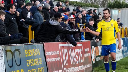 St Albans City's Sam Merson acknowledges the fans after the game with Welling United. Picture: JIM S