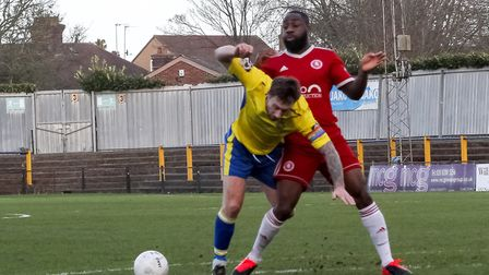 David Noble in action for St Albans City against Welling United. Picture: JIM STANDEN