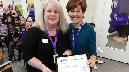 Lorraine Hamond (left) from St Albans, with Sue Cherrie, the head of the board of trustees at Crohn'