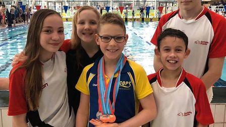 Huntingdon Piranhas swimmers at the Cambridgeshire County Championships are, from the left, Ruby Bra