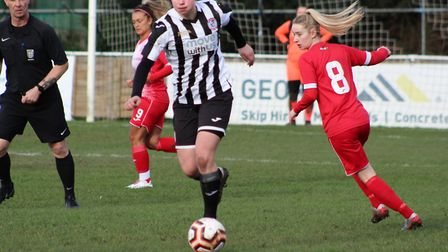 Ruth Fox hit a stunning goal for St Ives Town Ladies in their draw with Harlow Town. Picture: GARY R