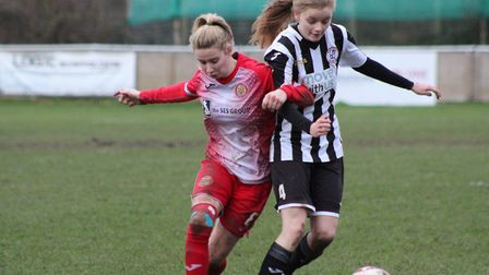 Abbi Griffin on the ball during St Ives Town Ladies' clash with Harlow Town. Picture: GARY REED PHOT