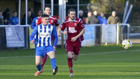 Action from Eynesbury Rovers' clash with Crawley Green. Picture: DUNCAN LAMONT