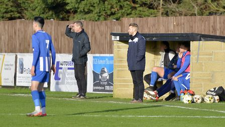 Eynesbury Rovers joint bosses Steve Kuhne (left) and Ash Fuller (right) look on during their draw ag