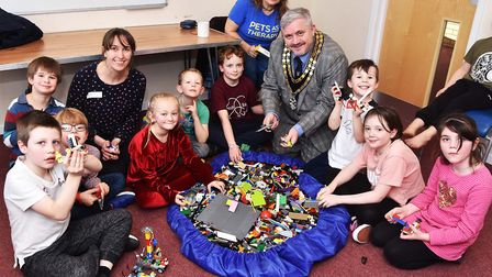Mayor Robert Inwood visiting Royston and Villages SEN Lego Club at Coombes Community Centre in Burns