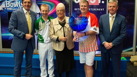 Nick Brett (second left) during the presentation following the Singles final at the World Indoor Cha