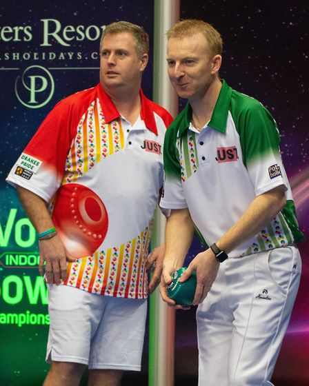 Nick Brett prepares to bowl during the Singles final at the World Indoor Championships as opponent R