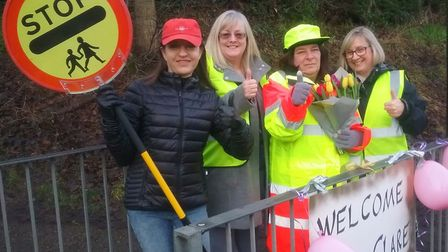 Wheathampstead lollipop lady Claire Dacre (banner misspelt) with Cllr Annie Brewster and St Helen's