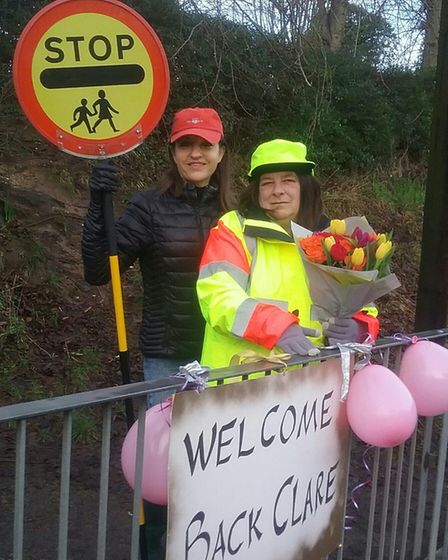 Wheathampstead lollipop lady Claire Dacre (banner misspelt) with Cllr Annie Brewster. Picture: St He