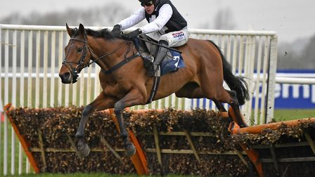 West Cork on the way to victory in the Huntingdon Racecourse opener on Friday under Harry Skelton. P
