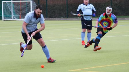 Adam Horlock on the ball for St Neots 1sts in their East Men's League clash against Bourne Deeping 2