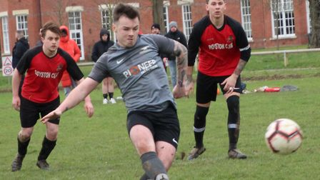 Nathan Lock scores for Blacksmiths Reserves with a penalty. Picture: BRIAN HUBBALL