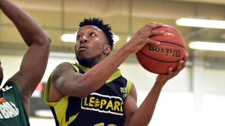 Prince Lartey in action for Essex & Herts Leopards' in their win over Westminster Warriors at Oaklan
