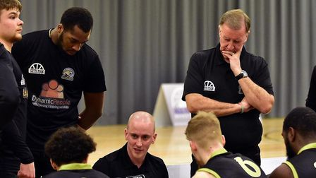 Head coach Tom Baker talks to the troops during Essex & Herts Leopards' win over Westminster Warrior
