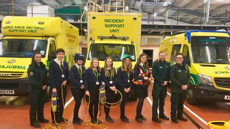 Melbourn Village College students with EEAST's paramedics and Alex Laurent and Tom Barker, community