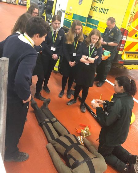 Louise Stephens, HART paramedic, demonstrates first aid techniques . Picture: EEAST