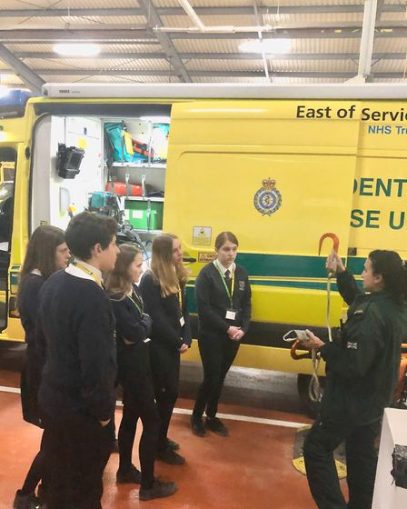Louise Stephens, HART paramedic, demonstrates specialist equipment. Picture: EEAST