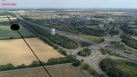 CamBedRailRoad's recommended location for a new Cambourne railway station. Picture: Orbital Filming