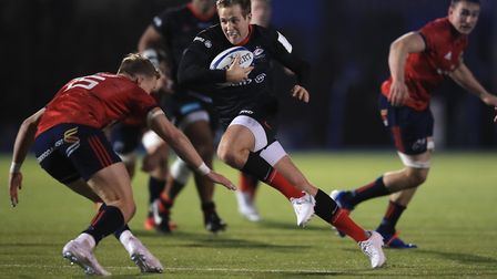 Max Malins during his man of the match performance for Saracens against Munster in December. Picture
