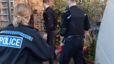 Cash and drugs have been seized by police as part of a warrant in Bassingbourn. Picture: Cambs polic