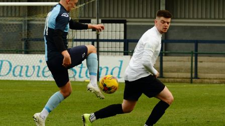 St Neots Town man Lee Watkins in action against Berkhamsted last Saturday. Picture: DAVID R. W. RICH
