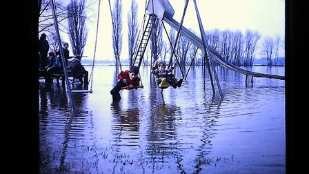David and Andy York at the flooded recreation park in Godmanchester