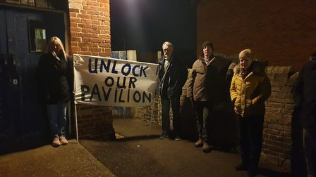 Bassingbourn FC supporters protested at a parish council meeting on Tuesday. Picture: Sophie Marriag