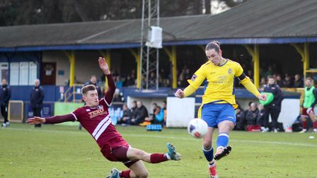 Tom Bender had put St Albans ahead at Chippenham with his second goal of the season. Picture: JIM ST