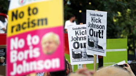 An anti-Boris Johnson protest in Russell Square, London on the day he became prime minister. (Steve