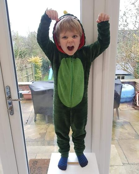 World Book Day 2020: George Reeve as the Gigantosaurus.