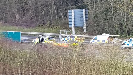 A picture of the incident on the A414. Picture: Derrick Davies