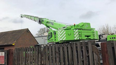 A crane blocking the depot has caused disruption to St Albans market traders today. Picture: Laura B