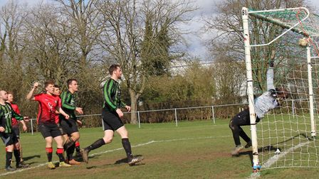 Pinewood score their second goal against Six Bells. Picture: BRIAN HUBBALL