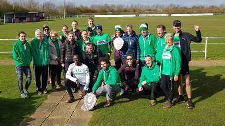 Riverside Runners celebrate becoming senior champions in the Frostbite Friendly League. Picture: SUB