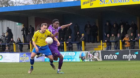 Sam Merson was one of the players to come off the bench for St Albans City against Dartford. Picture