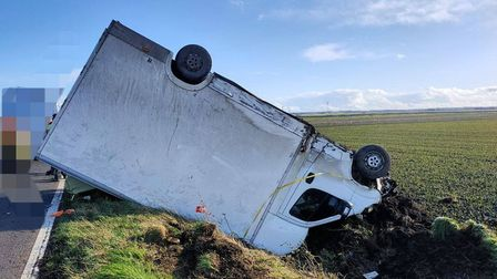 The van driver escaped without any injury. PICTURE: Cambs police