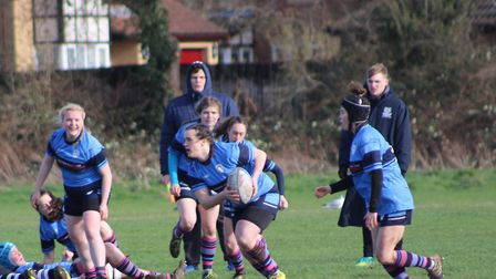 Kirsty Wilson, on the ball, touched down for two tries as St Neots Ladies beat Royston. Picture: SUB