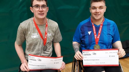 Dan Bullen (left) with opponent Jack Hunter-Spivey following their final clash at the England Senior