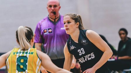 Anneke Schlueter in action for Oaklands Wolves against Nottingham Wildcats in the WBBL. Picture: LEL