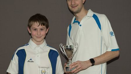 Ed Elmore (right) with Under 25 Singles opponent Sam Brugnoli. Picture: RICHARD COLES