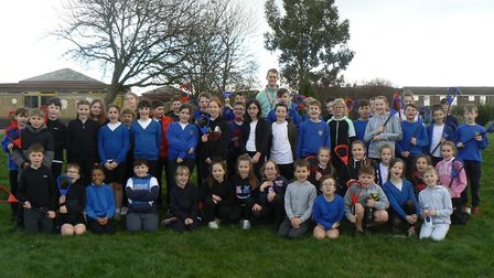 Winhills Primary Academy Year 5 and 6 pupils with Thomas Chalklen during the lacrosse event. Picture