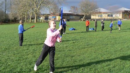 Winhills Primary Academy pupils try their hand at lacrosse. Picture: SUBMITTED