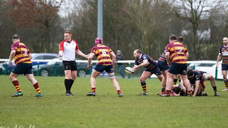 Old Albanian lost 16-10 to Westcliff at Woollams in a National Two South clash. Picture: NEIL BALDWI