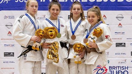 Amy Platten (second from left) won the 2019 British Junior Judo title in the U48kg category. Picture