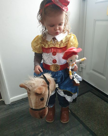 Sasha Mccallion aged 2 world book day at Busy Bees nursery St Neots dressed as Jessie from Toy Stor