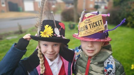 Madison Brocklebank aged 7 with a Mary Poppins themed hat, and Joseph Brocklebank aged 6 with a Wily