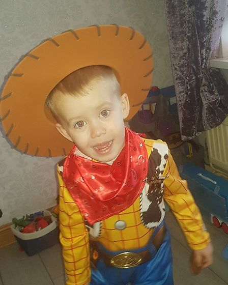 AJ Day-theobald aged 3 fro m Little Flames Nursery in Huntingdon dressed up as Woody from Toy Stor