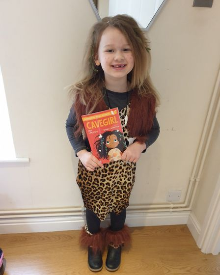 Sophie Crisp , 6 years old as a cavewoman from Warboys Primary Academy. PICTURE: Selina Crisp