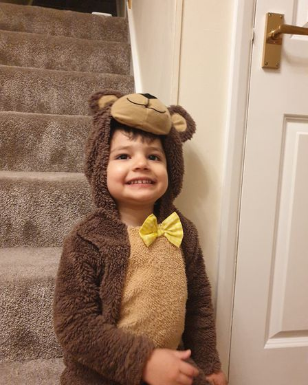 Kyan Wiggett who is 3, dressed up as a Bear from Going on a bear hunt. PICTURE: Meera Wiggett